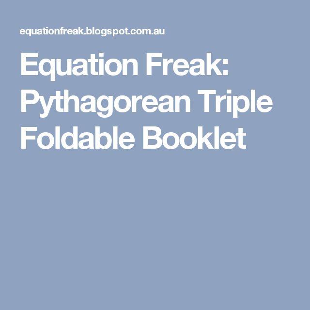 Equation Freak: Pythagorean Triple Foldable Booklet