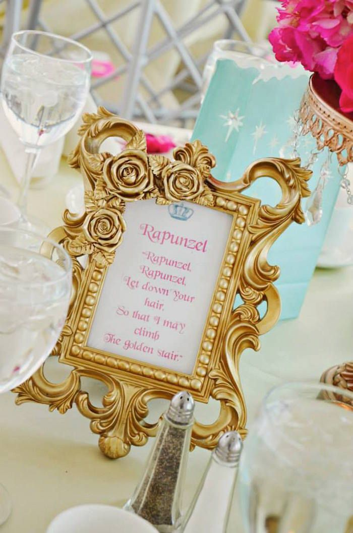 Table Centerpiece at a Princess Baby Shower on ...