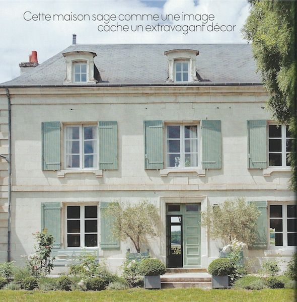 French manor, beautiful light stucco, sloped roof and french blue shutters, gorgeous French country!
