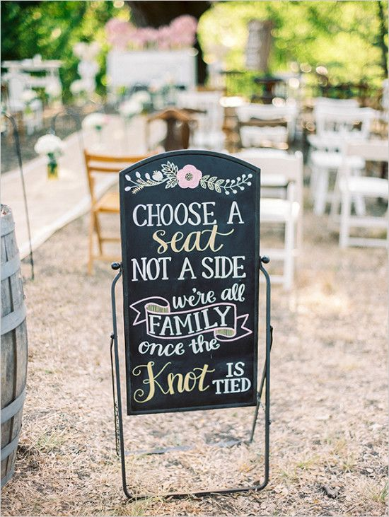 pick a seat wedding ceremony sign @weddingchicks                                                                                                                                                      More
