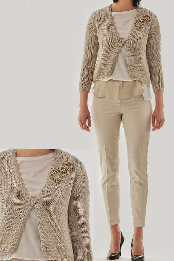 The #Italian #style in this #Cardigan in #dove # coloured #tape by #FabianaFilippi. The #embroidery is entirely #hand made with #wooden #beads. Available in our #boutique #online www.lanamoda.it.  #levicoterme #italia #italy #trentino #trentinoaltoadige