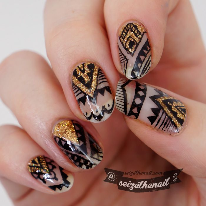 Aztec nail art done with ink!