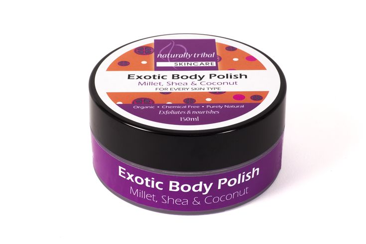 NATURALLY TRIBAL'S MILLET BODY POLISH is ideal for firming and repairing damaged and dehydrated skin. Use of this product is perfect prior to spa treatments like body wraps or massages as the Shea butter base and millet exfoliant gently removes dead skin for a fresh, smooth, soft and moisturised skin finish.