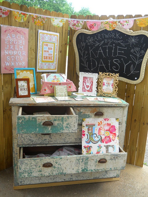 Cool display from Katie Daisy.  Love the old dresser.