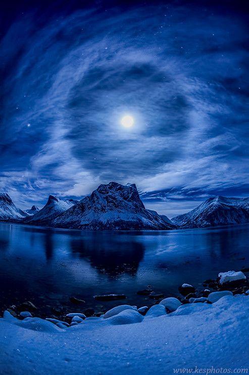 Lunar Halo, Norway, by Kenneth Skulbru,