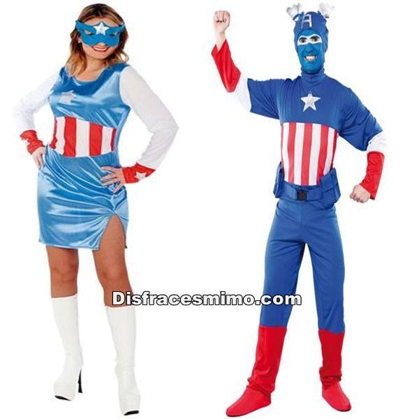 DisfracesMimo, disfraz de capitan america para hombre y mujer.Con este disfraz no pasarás desapercibido en Fiestas Temáticas, de Disfraces o en Carnavales y seras un superheroe de comic fantastico.Este disfraz es ideal para tus fiestas temáticas de disfraces para parejas de superheroes.
