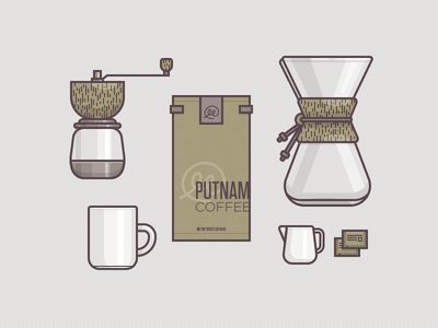 A series of coffee themed illustrations. I could see these being used to break up content and contributing to the overall theme of the website.