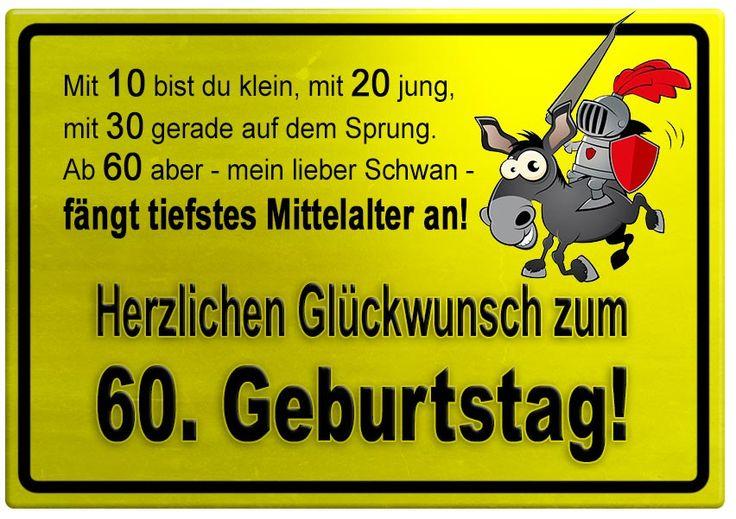 Gelbes Schild mit Esel und Ritter zum 60. Geburtstag - Geburtstagssprüche-Welt