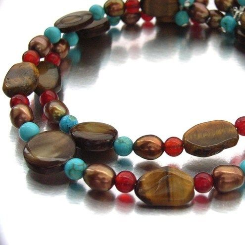 Tigers eye, turquoise, carnelian and pearl bracelet  £20.00