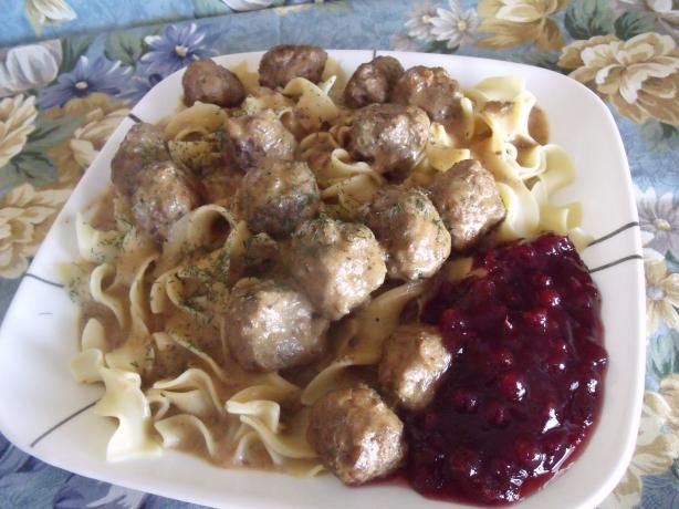 Swedish Meatballs With Lingonberry or Cranberry Sauce from Food.com    (Lingonberry sauce available at IKEA)