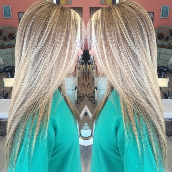 Straight Long Haircut with Layers - Balayage Highlights with Brown, Blonde