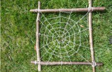 Forest School Activities Nice idea to just make the frame and hang it in the garden for spiders to make their own webs in.