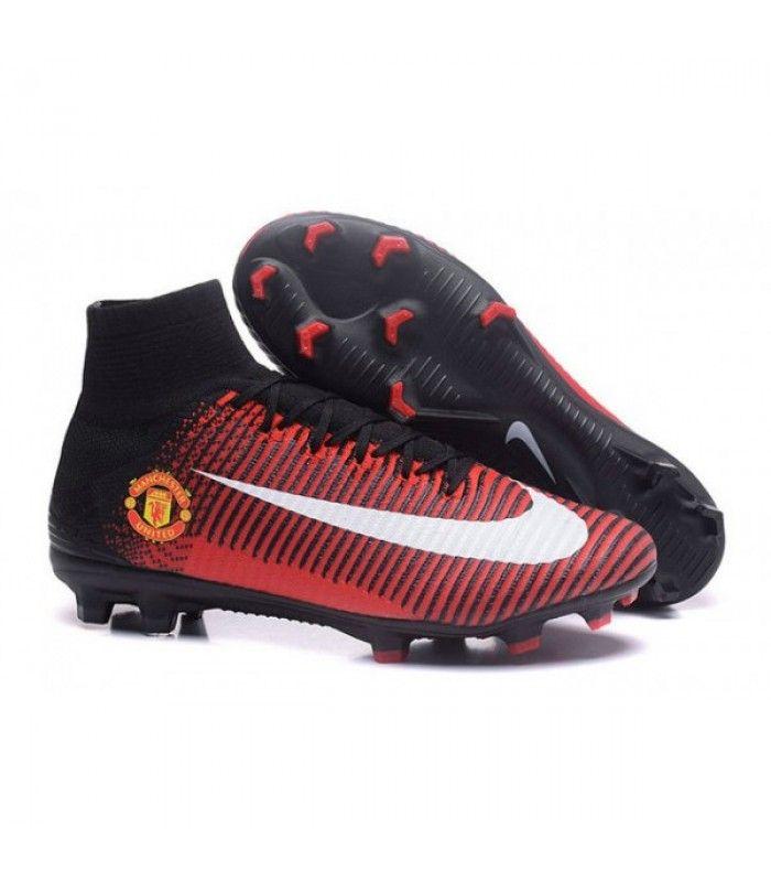 Acheter Chaussure Nike Mercurial Superfly 5 FG pour Hommes Manchester United Football Club Rouge Noir Blanc pas cher en ligne 124,00€ sur http://cramponsdefootdiscount.com