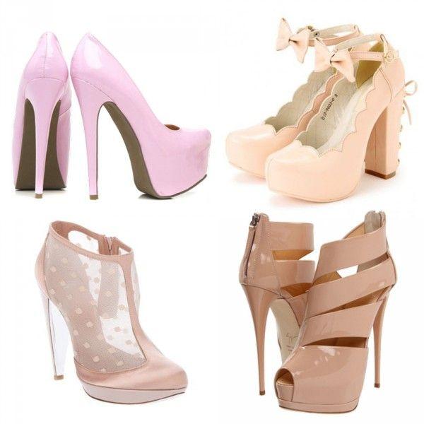 Розовые туфли на шпильках пастельных оттенков