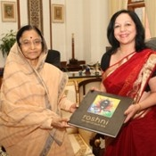 Roshni -The Light of South Asia book with the  President of India- Pratibha Patil at the Rashtrapati Bhawan.