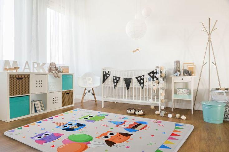 Sowy z balonami białe dywany dla dzieci