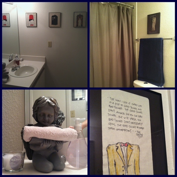 My Very Own Doctor Who Bathroom With A Weeping Angel And Art From Etsy. #
