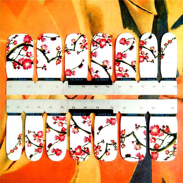 30 style Nail Wraps Stickers, Eastern Plum Flower Designs, Waterproof Nail Arts Polish Gel Foils Keep 2-3 weeks