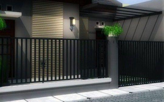 Gambar Model Pagar Rumah Minimalis Dengan Desain Sederhana dan Modern. Pagar Besi, Tembok dan Batu Alam Minimalis.