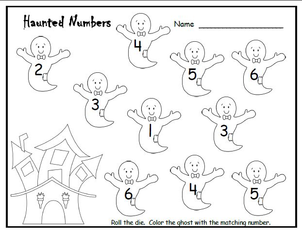 Halloween Counting Pre-K activity. Roll the dice and color the ghost with the matching number.