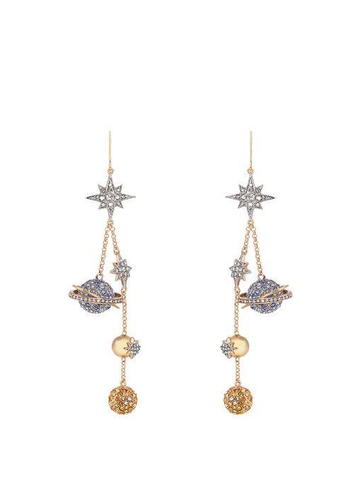 ROBERTO CAVALLI Planet Charms embellished drop earrings. #robertocavalli #earrings