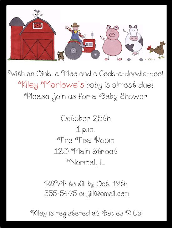 Barnyard/Farm Baby Shower Invitations                                                                                                                                                      More