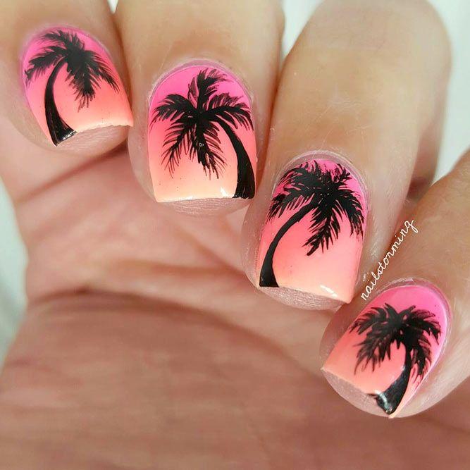 картинки яркого летнего маникюра в фиолетовых оттенках с пальмами каждый месяц начала