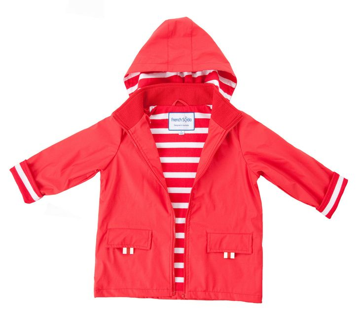 Funky, stylish and built to withstand the elements... rain, wind & wintry days that is!  Navy red Teddie kids raincoat by French Soda!  Whether it's jumping in puddles or a day out on the high seas, this is the perfect raincoat to keep the wet and chill at bay! 100% waterproof and features 100% jersey cotton lining ensuring they'll stay dry and warm. 100% Waterproof / 100% Jersey Cotton Lining #littlebooteekau #kidsraincoat #redcoat