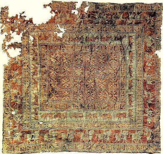 The Pazyryk Carpet, the oldest known surviving carpet in the world, 5th century BC