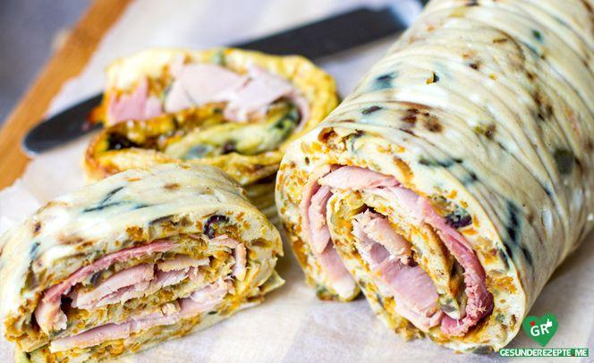 Omelett-Wrap Mit Schinken Rezept :http://gesunderezepte.me/omelett-wrap-mit-schinken-rezept/