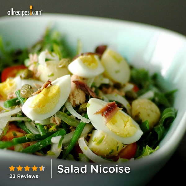 "Salad Nicoise | ""Followed directions to the ""T"" and also used the ""Lemon Vinaigrette salad"" dressing from this website. Absolutely delicious! A perfect summer salad. Extra bonus: my husband told me this is THE BEST salad he's ever had in his life! He wants to have it again this week!"""