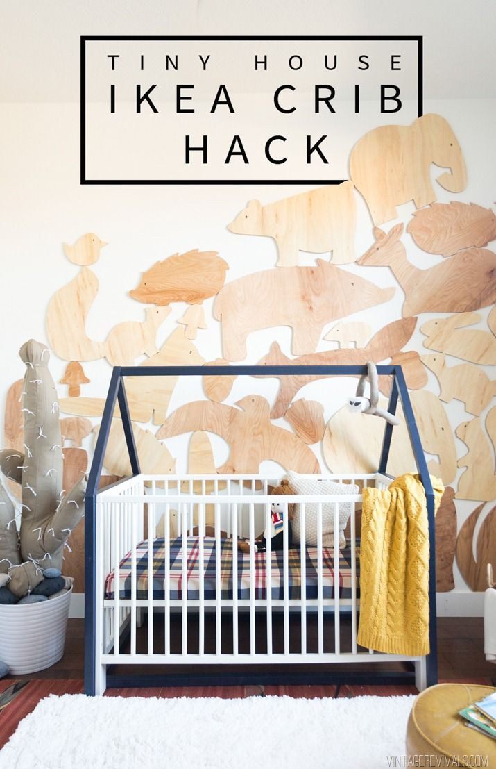 """$20. Tiny House IKEA Crib Hack Vintage Revivals: this project is that we used suuuuper inexpensive 2×2's from Home Depot.  I think that they are around $2.00 for each 8ft piece. So this whole project will cost you less than $20!! Here is your cut list: (4) 2×2 cut to 33"""" (4) 2×2 cut to 29 1/4"""" (4) 2×2 cut to 27 1/2"""" with a 45 degree angle on each end (2) 2×2 cut to 54"""" (1) 1×3 cut to 54"""""""