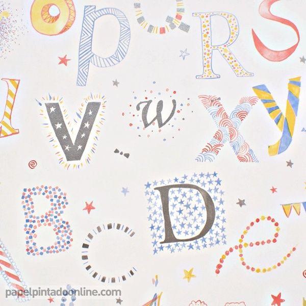 Papel pintado infantil summer camp 7281 04 35 con letras - Papel pintado letras ...