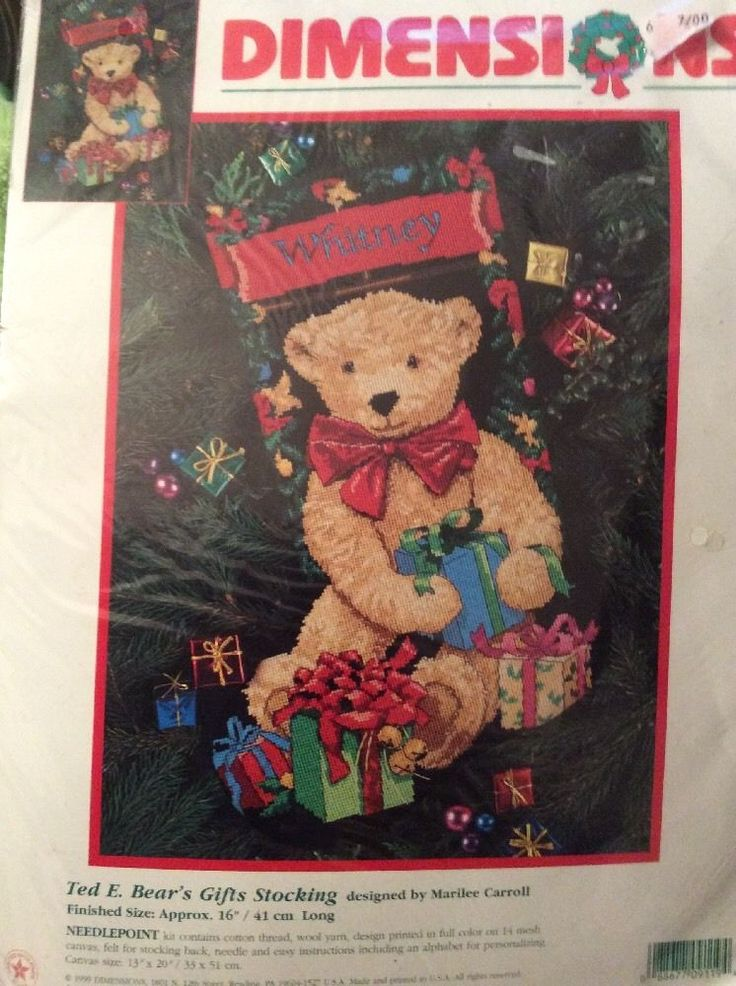 Dimensions Ted E Bears Gifts Needlepoint Stocking Kit New 9119  Christmas #Dimensions