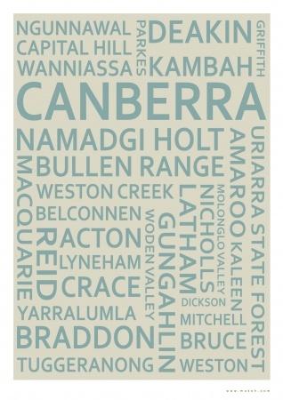 Canberra Text Print - hardtofind.