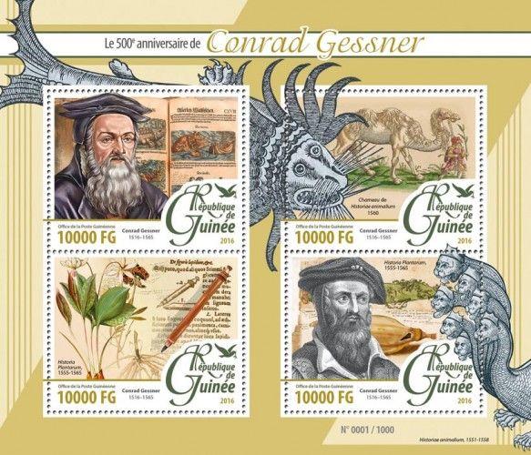 """GU16104a Conrad Gessner (500th anniversary of Conrad Gessner (1516-1565), book on plants by Conrad Gessner """"Historia Plantarium"""" (1555-1565))"""