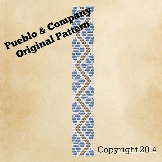 Americana Blue & White Flowers Bead Loom Pattern by PuebloAndCo