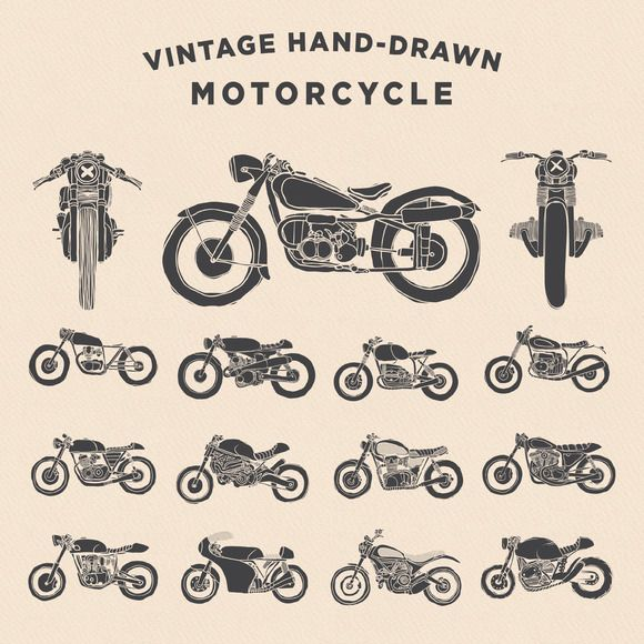 Vintage Hand-drawn Motorcycle by dreamwaves on Creative Market