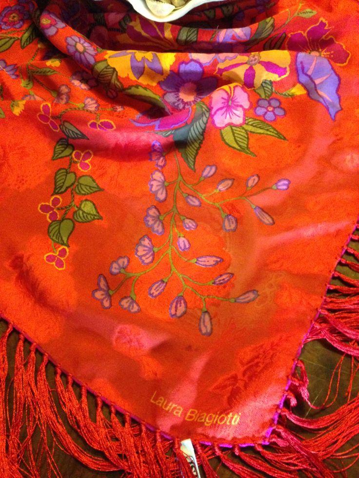 Label. #LAURABIAGIOTTI huge floral red silk shawl