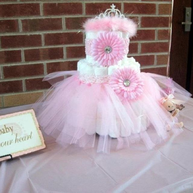 Perfect Pink And Brown Baby Shower! Diaper Cake Decorated With A Tutu, Headband,  And A Tiara! Iu0027m So Making This For Baby Elizabeth!