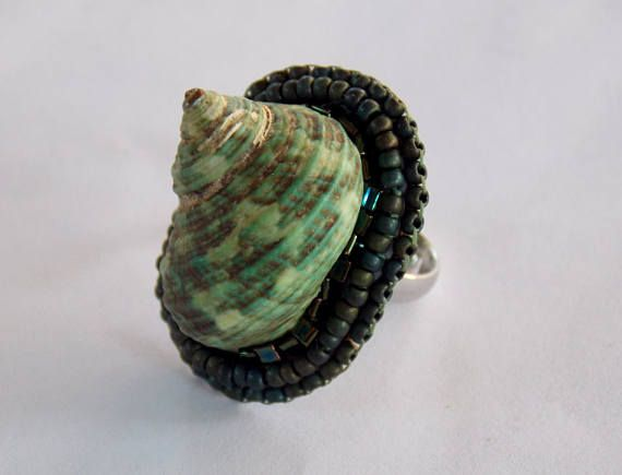 Ring, Statement, Bead embroidery, Seashell , extravagant,  Seed beads jewelry,  Fashionable jewelry, Summer ring, green by vicus. Explore more products on http://vicus.etsy.com