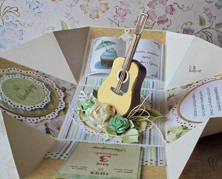 exploding box birthday card guitar, kartka urodzinowa z gitarą