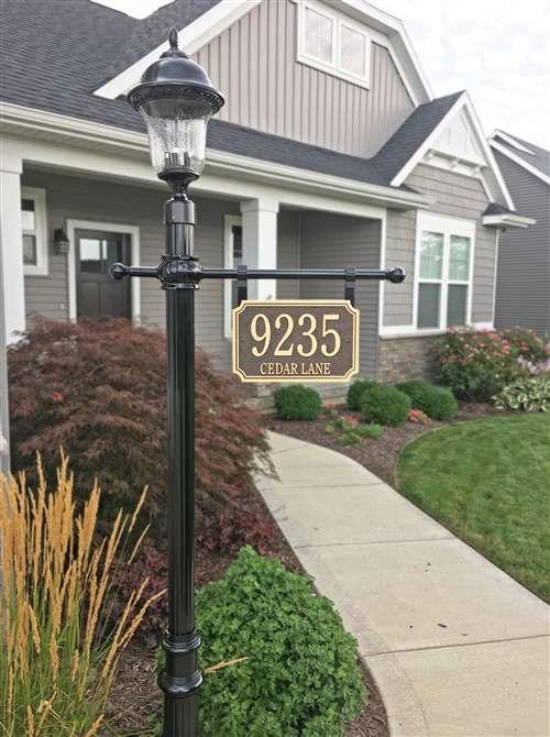 Address Plaque Post With Lantern Hanging Address Sign
