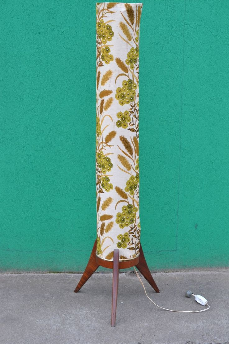 """VINTAGE MID CENTURY ROCKET FLOOR LAMP - $320 AUD  This is an amazing and  all original Mid Century """"Rocket Lamp"""".  The fabric used is a type of  canvas,  with a stunning design. Beautiful green flowers and brown wheat grass pattern running through the beige background."""