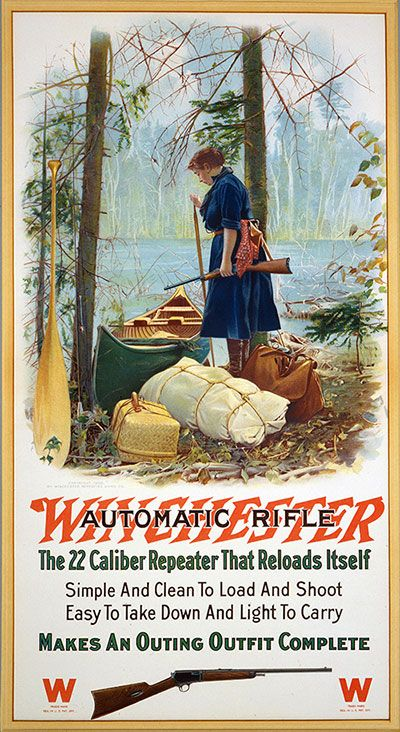 Paddle Making (and other canoe stuff): Winchester Rifle Canoe Lady Ad