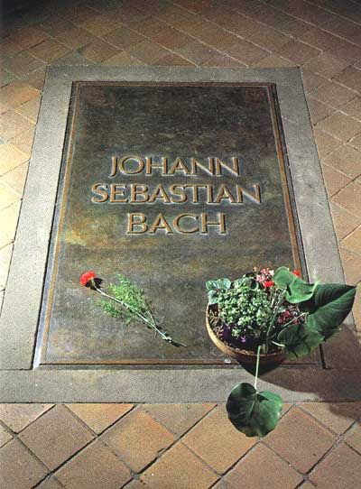 Johann Sebastian Bach (1685 - 1750)German Baroque composer and Organist. One of the greatest composers of all time. Tomb in St Thomas Church, Leipzig.