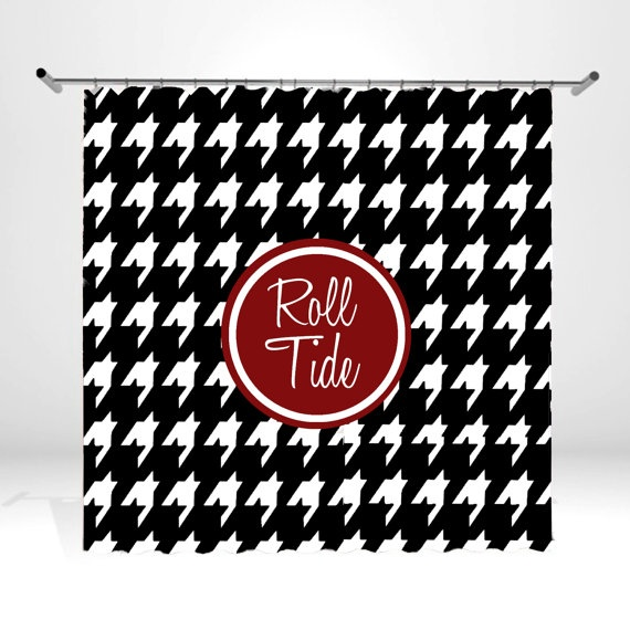 Personalized Monogrammed Shower Curtain - Houndstooth Print - Alabama on Etsy, $64.99