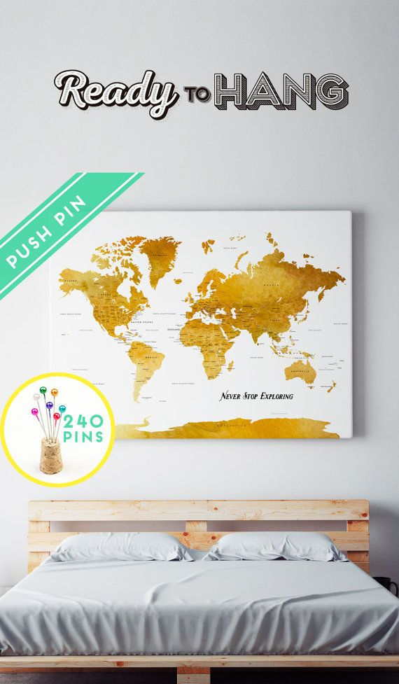 Map Push Pin Canvas World Map Personalized Watercolor Brown