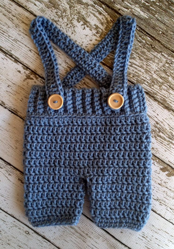 crochet baby pants | Crochet Baby Shorts/Pants with Suspenders- Diaper Cover in Stonewash ...