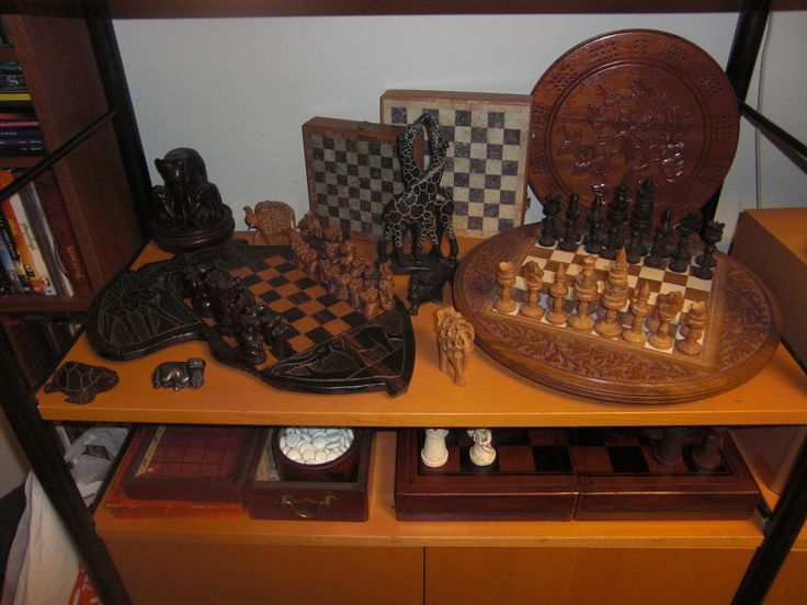 Some of my chess sets currently on display at home chess pinterest chess and chess sets - Chess board display case ...